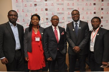 (L-R) Ayo Stuffman, Managing Director, Vas2nets Technologies Ltd; Maurice Newa, Chief Commercial Officer, Airtel Nigeria; Seyi Ibidapo representing Saving One Million Lives Initiative and David Hutchful of Grameen Foundation at the launch of Mobile Midwife and Dial a Doctor Services in Lagos on Thursday.