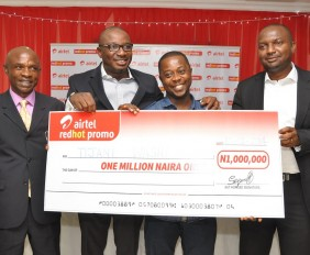 L-R, Head, Surveillance & Enforcement Dept., Consumer Protection Council (CPC), Mr. Anyanwu Camillus; Vice President, Brand & Marketing Communication, Airtel, Obinna Aniche; Airtel customer and winner of One Million Naira in Red Hot promo, Mr. Tijani Wasiu with Head, High Value Segment, Airtel, Mr. Kenechukwu Okonkwo during the Airtel Red Hot promo press conference/prize presentation to winners, held in GRA, Ikeja, Lagos on Wednesday.