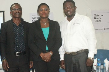L-R: Operations Manager, Mr Daniel Anim-Appiah; Public Relations Manager, Mrs Toyin Adepegba and Field Education Manager, Mr Daniel Komlan, all of Recare Limited, during a meet and greet session with the media held at Natures Gentle Touch Hair Institute, Victoria Island on Thursday, January 22nd.