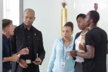 Diamond Bank CEO, Uzoma Dozie  and Head Corporate Communication Division, Ayona Trimnell during the video production of the new ''Diamond Mobile App,'' TV commercial.