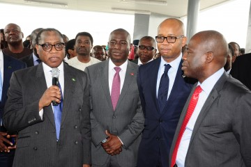 L-R: Honorable Minister, Ministry of Industry, Trade and Investment, Dr. Olusegun Aganga; Managing Director, Coca-Cola Nigeria Limited, Mr. Adeola Adetunji; Chief Executive Director and Group Managing Director, Diamond Bank, Uzoma Dozie; and Director, Enterprise Development Centre (EDC) Mr. Peter Bamkole; during the launch of the Enterprise Development Centre new building at Pan Atlantic University, Lagos recently.