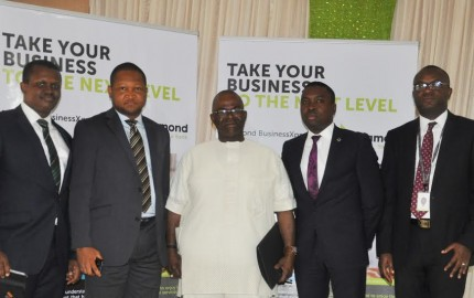 (L-R)Chiagozie Nwizu, MSME Advisory Manager, Diamond Bank PLC; Raymond Mbonu, Business Manager, BrigdeHead Branch, Diamond Bank PLC; Chief Emmanuel Eziokwu, KSJ,  Chairman, Prollo Pipes & Profile Industries Limited, Onitsha; Iheanyi Nwanosike, Business Manager, New Market Road Branch, Diamond Bank PLC and Nicholas Peter, MSME Proposition, Diamond Bank PLC at the 47thBusinessXpress Seminar of  the bank organized for Micro-Small, Medium Enterprises at Onitsha recently.