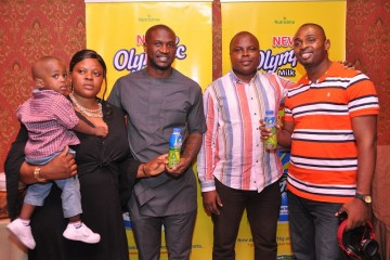 L-R, Mrs. Faith Okoh with her son; Olympic Brand Ambassador, Peter Okoye; Manager, Integrated Marketing Communications, Nutricima Limited, Funsho Jacob and Mr. Precious Okoh, during the special dinner held at Marcopolo Oriental Cuisine, Victoria Island, Lagos recently for couples who emerged winners in Nutricima's 'My Olympic Valentine Facebook Contest.'