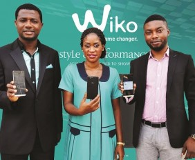 L-R, Channel Marketing Manager, Adebayo Adams; Key Accounts Manager, Lagos & South-West,  Abiola Anifowoshe with Country Sales Manager, John Peters, all of Wiko Nigeria during the unveiling of the new stylish smartphone, Wiko Getaway, in Ikeja, Lagos on Thursday.