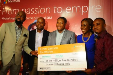 CEO, Chocolate City Group, Audu Maikori; General Manager, Microsoft Mobile Devices and Services, Joseph Umunakwe; Winner #MakeItHappen# Microsoft Lumia 535 Dual SIM 'Passion to Empire' activation campaign, Emmanuel Okena; CEO, House of Tara, Tara Fela-Durotoye; and Co-founder Jobberman, Opeyemi Awoyemi at the Press Conference announcing the 5 winners of the campaign, which took place on Monday 27th April, 2015 at Intercontinental Hotel, Lagos.